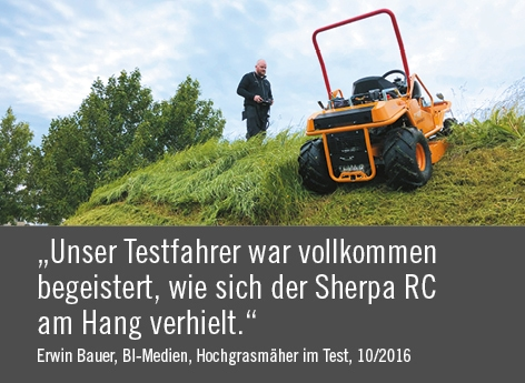 "Zitat BI-Medien ""Unser Testfahrer war vollkommen begeistert, wie sich der Sherpa RC am Hang verhielt."""